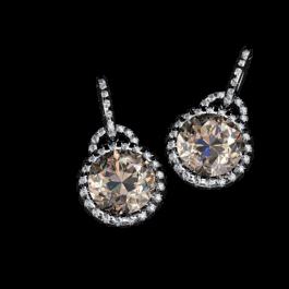 Chocolate Citrine and diamond earrings