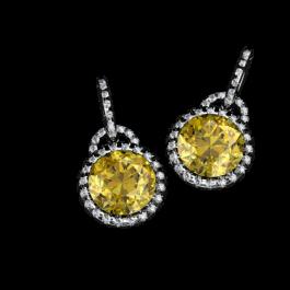 Daffodil Citrine and Diamond earrings