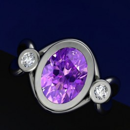 Lotus Ring set with Oval Amethyst and diamonds