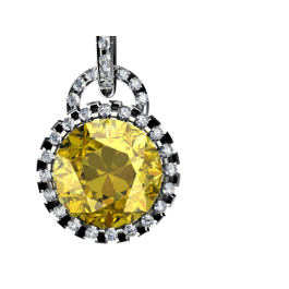 Daffodil Citrine and Diamond Pendant