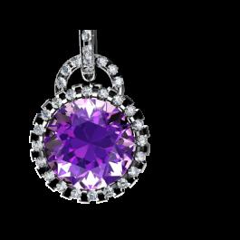 Iris amethyst and diamond Pendant