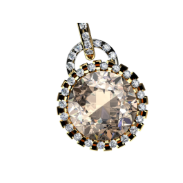 Chocolate Citrine and diamond pendant in yellow gold