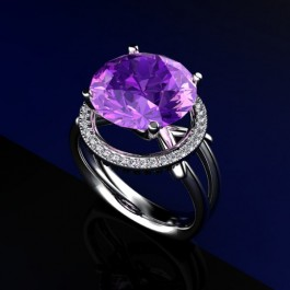 Amethyst and Diamond ring in plat 050.  11-12mm Amethyst and .15ct diamonds