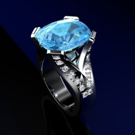 Blue Topaz in Silver with diamonds