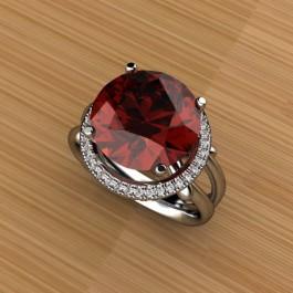 Grape Garnet and Diamond Ring plat 050