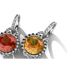 Light and dark Golden Poppy Citrine and diamond earrings.