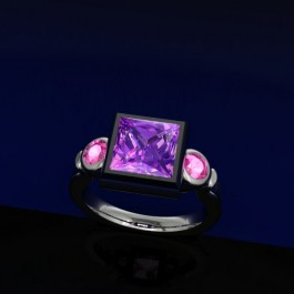 Triple Bezel with synthetic pink sapphire