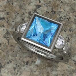 Triple Bezel Bezel with Blue topaz and diamond