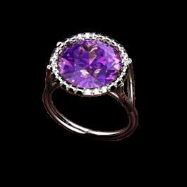 Iris Amethyst and diamond ring