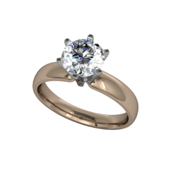 Classic flared solitaire- 6 prong - Rose 01