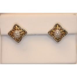 Flor de lis 14kt diamond and sterling earrings