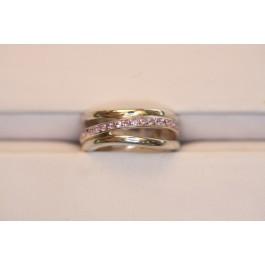 Amethyst triple axle silver ring.