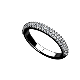 Pave Three Row Diamond Band 4