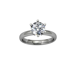 Classic flared solitaire- 6 prong - White 04
