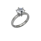 Classic Flared Solitaire - 6 Prong - Plat And 18kt Yellow 03